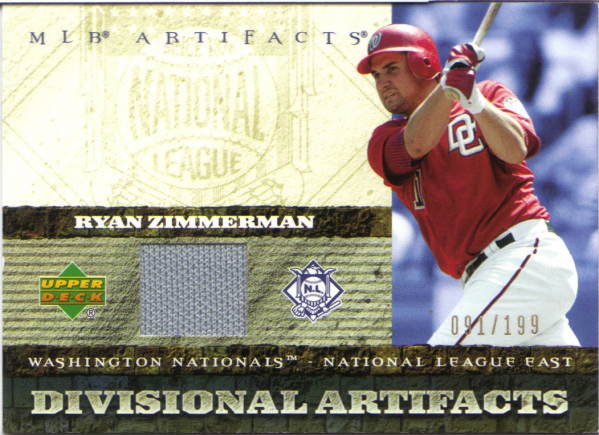 2007 Artifacts Divisional Artifacts #RZ Ryan Zimmerman