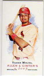 2007 Topps Allen and Ginter Mini No Card Number #314 Yadier Molina
