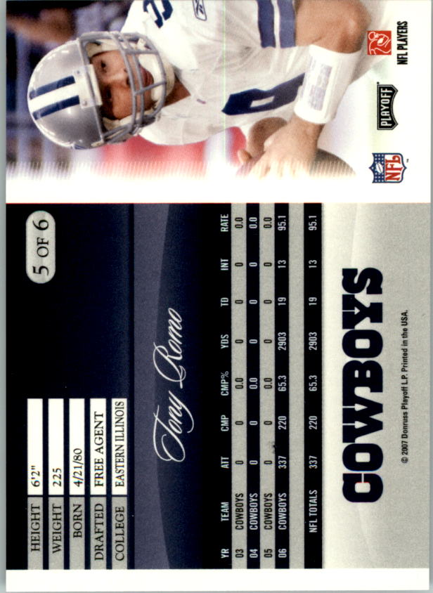 2007 Donruss Pepsi National Convention #5 Tony Romo back image