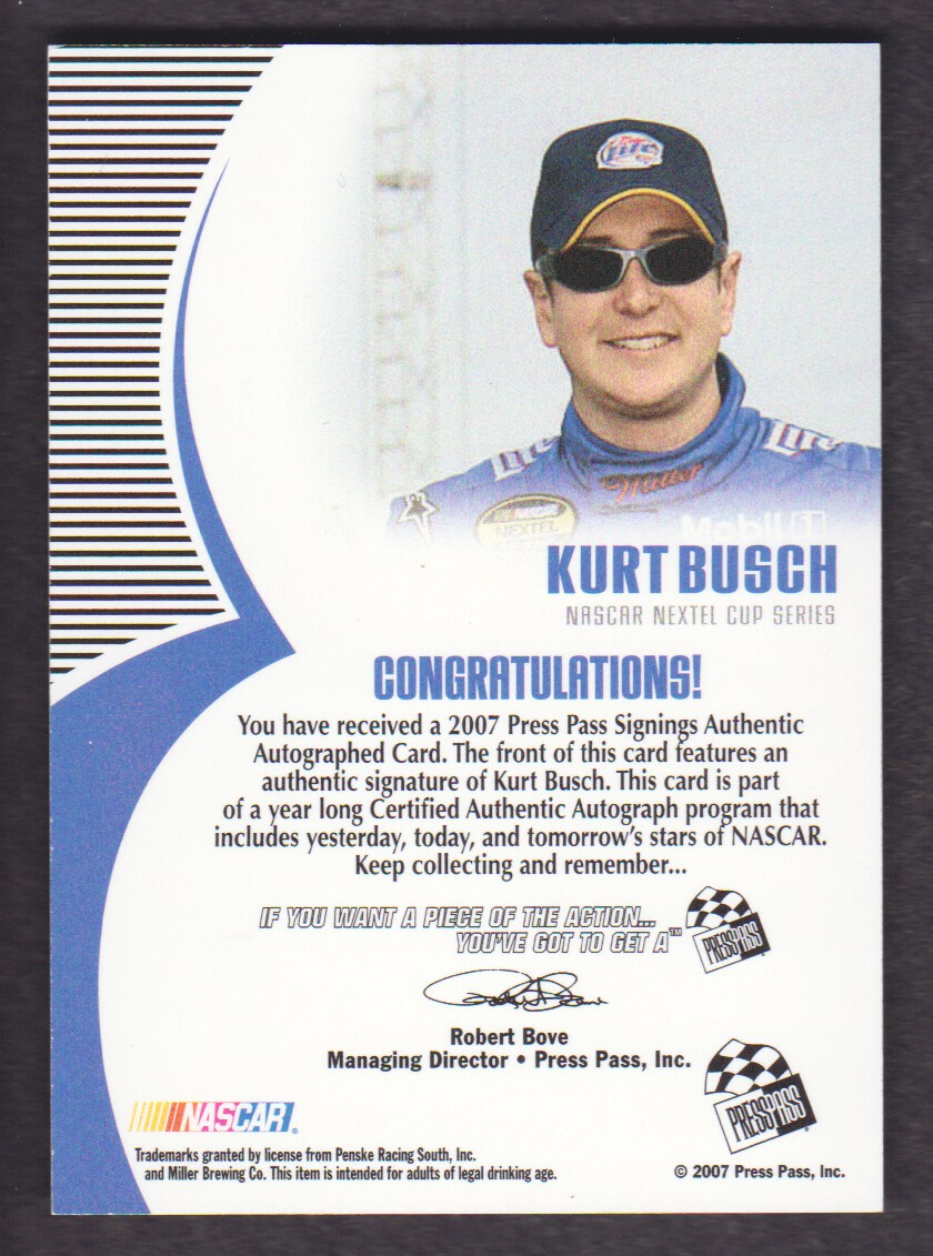2007 Press Pass Signings Silver #8 Kurt Busch NC S/T back image