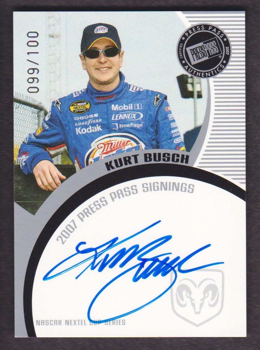 2007 Press Pass Signings Silver #8 Kurt Busch NC S/T