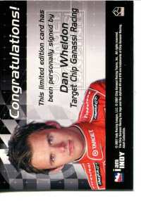 2007 Rittenhouse IRL Autographs #17 Dan Wheldon back image