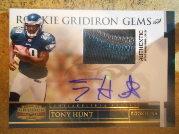 2007 Donruss Gridiron Gear Rookie Jerseys Prime Autographs #222 Tony Hunt