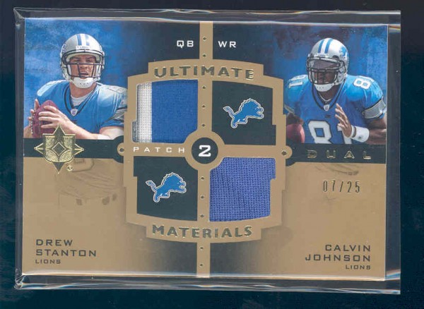 2007 Ultimate Collection Materials Dual Patch #26 Drew Stanton/Calvin Johnson