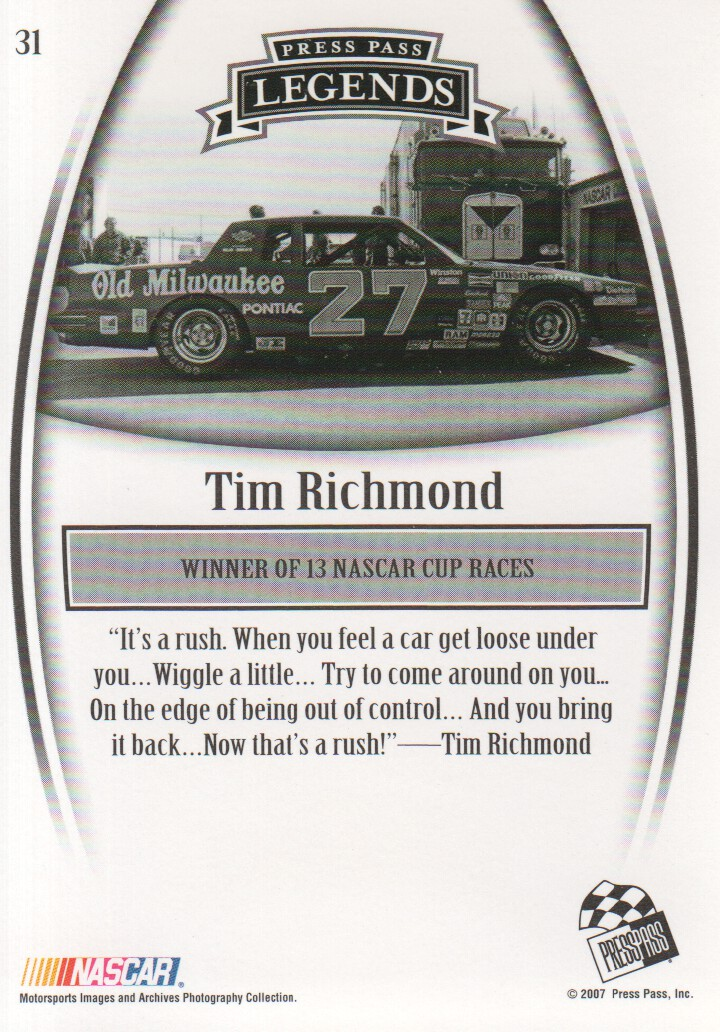 2007 Press Pass Legends #31 Tim Richmond back image