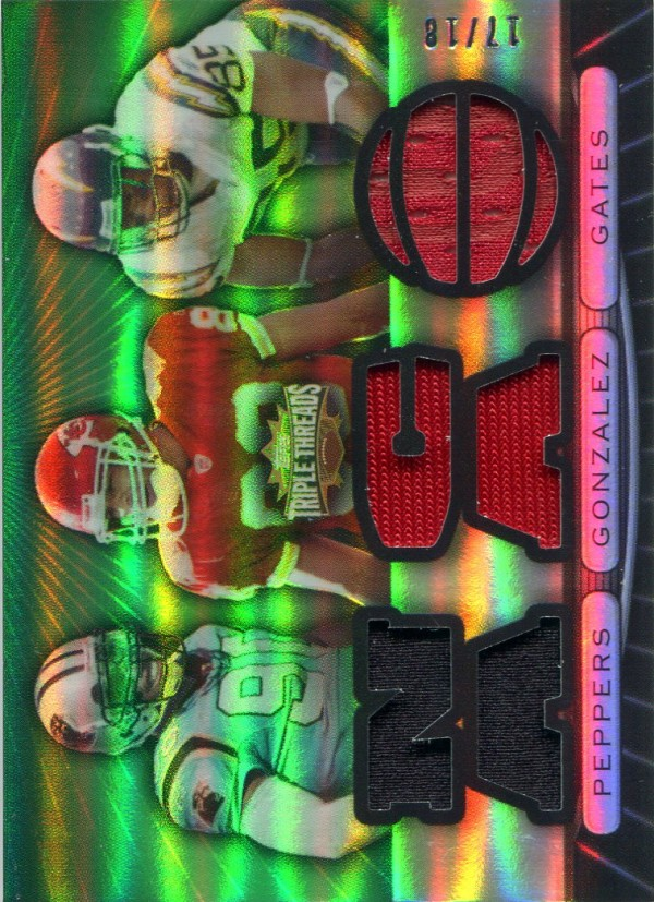 2007 Topps Triple Threads Relic Combos Emerald #35 Julius Peppers/Tony Gonzalez/Antonio Gates