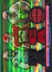 2007 Topps Triple Threads Relic Combos Emerald #35 Julius Peppers/Tony Gonzalez/Antonio Gates front image