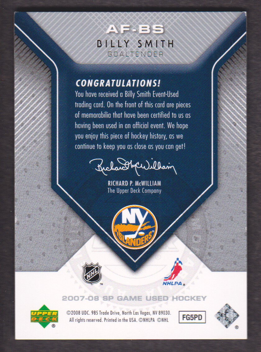 2007-08 SP Game Used Authentic Fabrics #AFBS Billy Smith back image