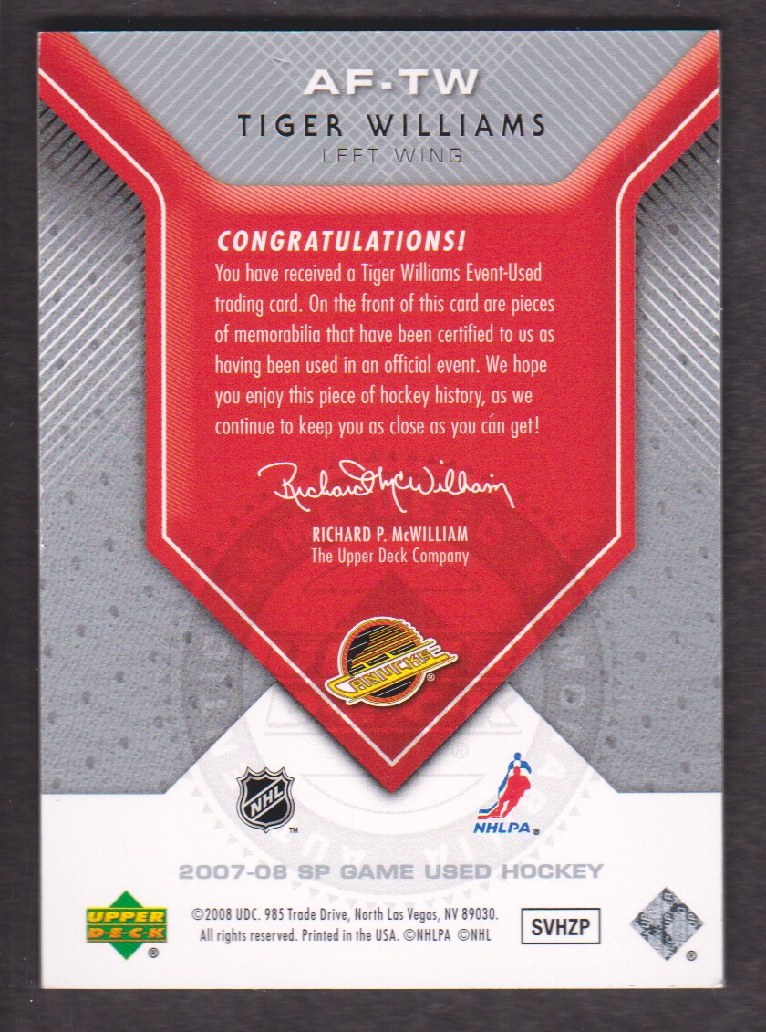 2007-08 SP Game Used Authentic Fabrics #AFTW Tiger Williams back image