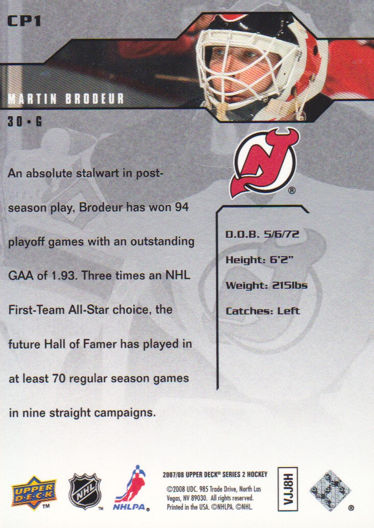 2007-08 Upper Deck Clutch Performers #CP1 Martin Brodeur back image