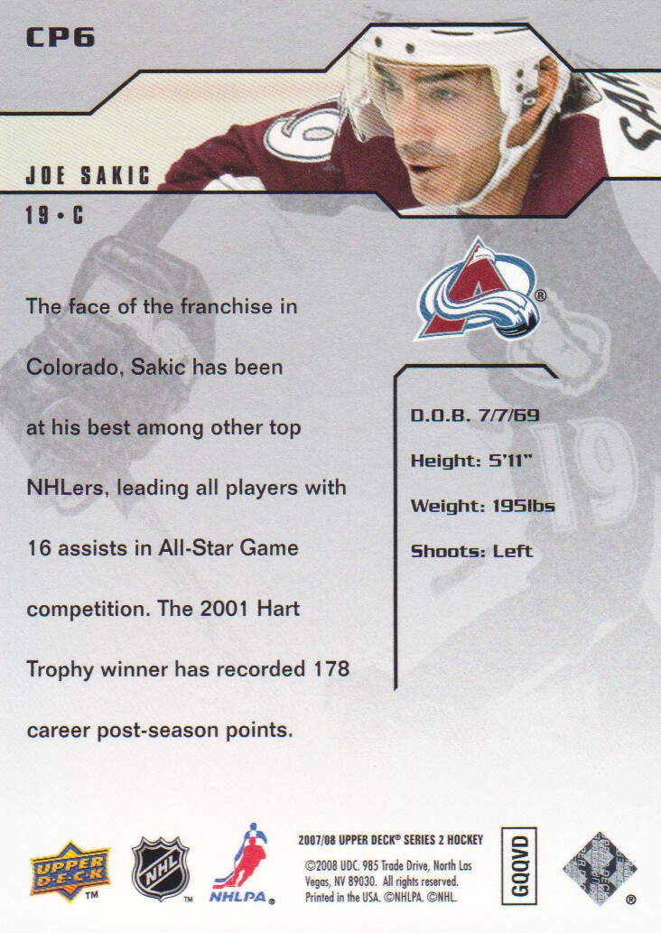 2007-08 Upper Deck Clutch Performers #CP6 Joe Sakic back image