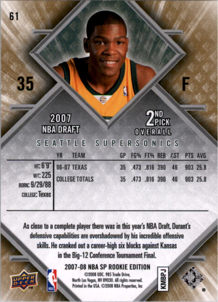 2007-08 SP Rookie Edition #61 Kevin Durant RC back image