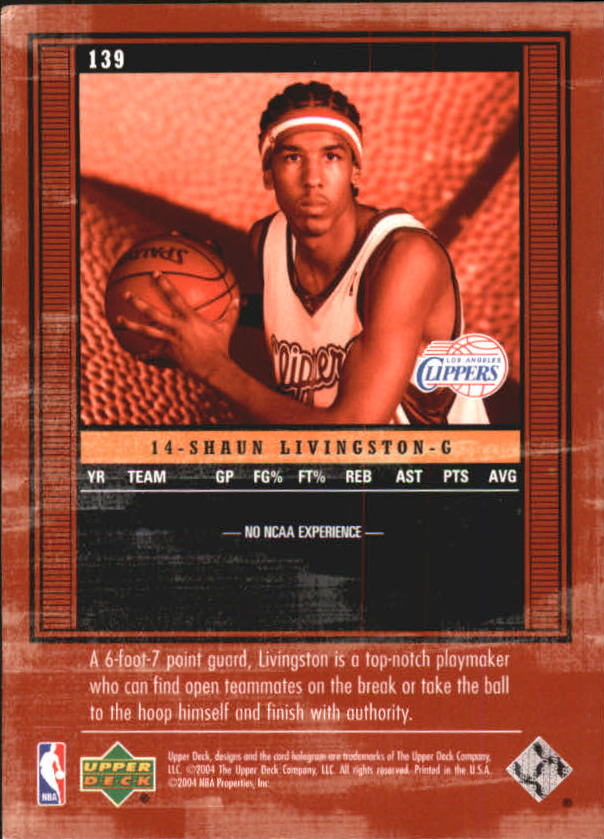 2003-04 Upper Deck Legends #139 Shaun Livingston XRC back image