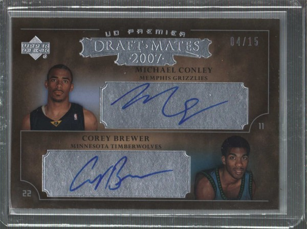 2007-08 Upper Deck Premier Draft Mates Autographs #DMBC Mike Conley/Corey Brewer