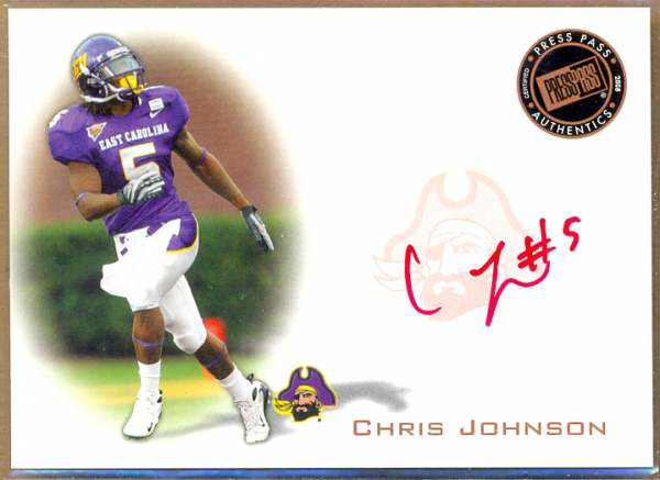 2008 Press Pass Autographs Bronze Red Ink #PPSCJ2 Chris Johnson/48*
