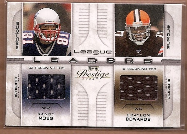 2008 Playoff Prestige League Leaders Materials #22 Randy Moss/Braylon Edwards/Terrell Owens/Plaxico Burress
