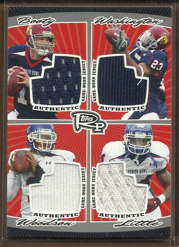 2008 Topps Rookie Progression Game Worn Jerseys Quad Silver #PQR10 John David Booty/Chauncey Washington/Andre Woodson/Rafael Little