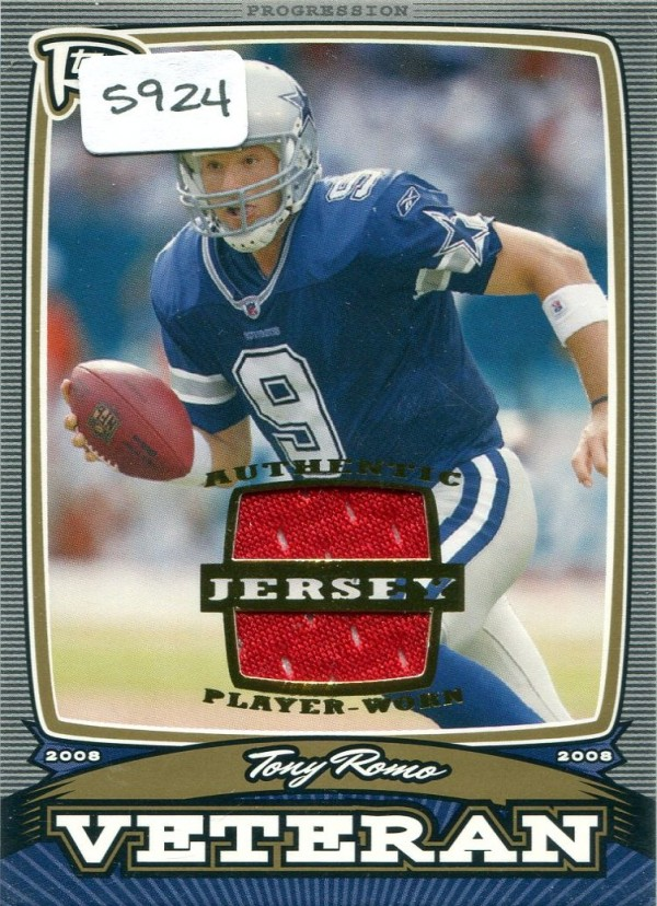 2008 Topps Rookie Progression Veterans Game Worn Jerseys Gold #PVTR Tony Romo