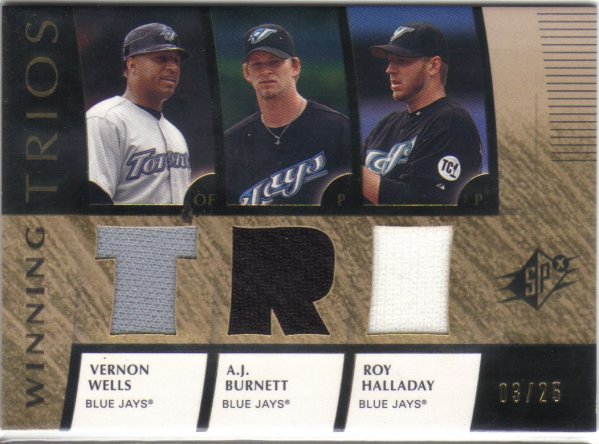 2008 SPx Winning Trios Gold 25 #WHB Vernon Wells/Roy Halladay/A.J. Burnett