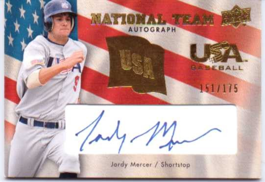 2008 Upper Deck USA National Team Autographs Blue #JM Jordy Mercer/175