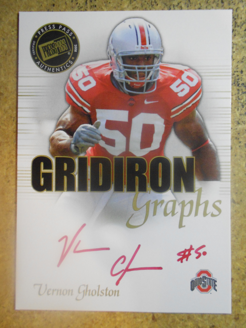 2008 Press Pass SE Gridiron Graphs Gold Red Ink #GGVG Vernon Gholston/50*