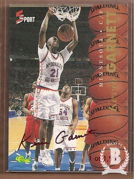 1995-96 Classic Five Sport Signings Red Signature #5 Kevin Garnett