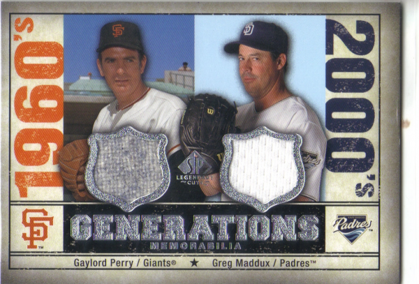 2008 SP Legendary Cuts Generations Dual Memorabilia #GG Gaylord Perry/Greg Maddux