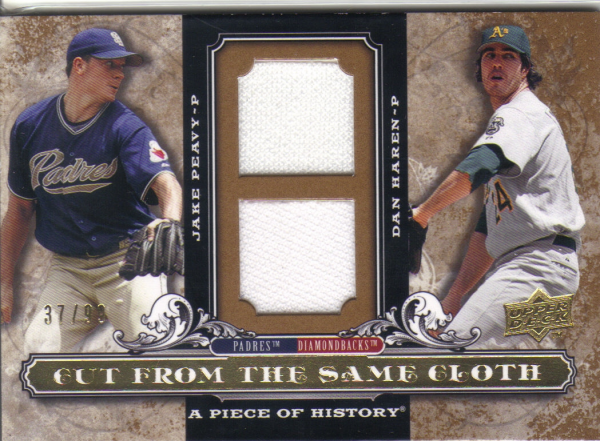 2008 UD A Piece of History Cut From the Same Cloth Dual Jersey #HP Jake Peavy/Dan Haren/99