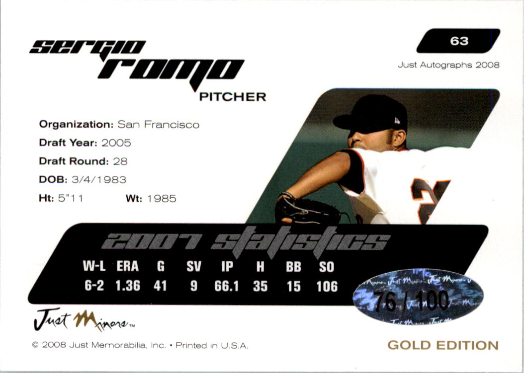 2008 Just Autographs Gold #63 Sergio Romo back image
