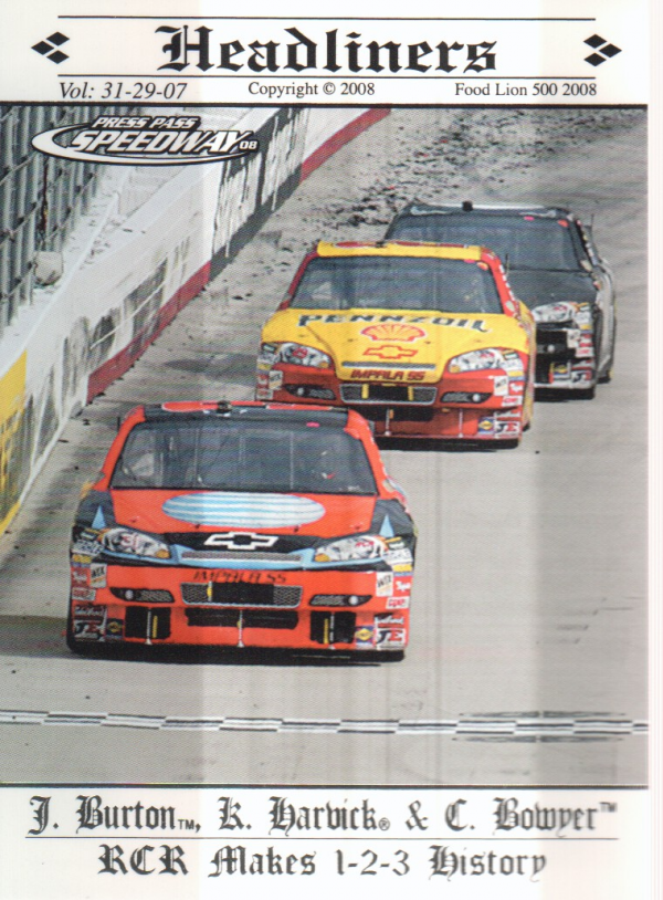 2008 Press Pass Speedway #96 Jeff Burton's Car/Kevin Harvick's Car/Clint Bowyer's Car H