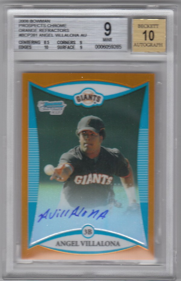 2008 Bowman Chrome Prospects Orange Refractors #BCP281 Angel Villalona AU