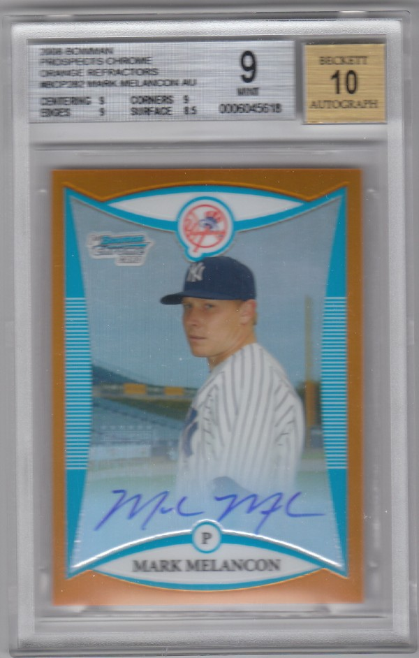 2008 Bowman Chrome Prospects Orange Refractors #BCP282 Mark Melancon AU