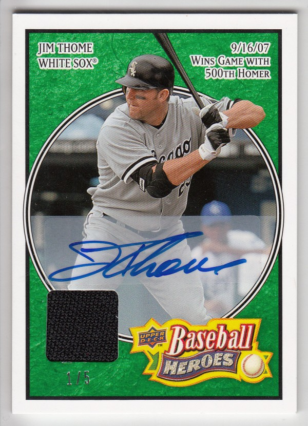 2008 Upper Deck Heroes Jersey Autograph Emerald #42 Jim Thome