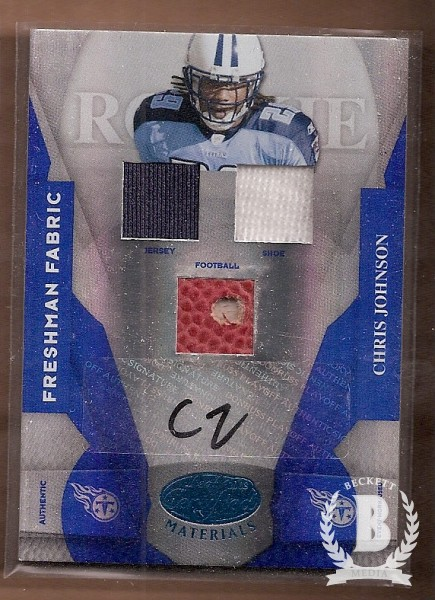 2008 Leaf Certified Materials Mirror Blue Signatures #213 Chris Johnson FF