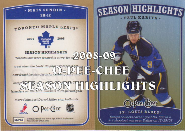 2008-09 O-Pee-Chee Season Highlights #SH17 Carey Price