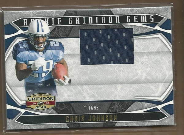 2008 Donruss Gridiron Gear Rookie Gridiron Gems Jerseys #204 Chris Johnson