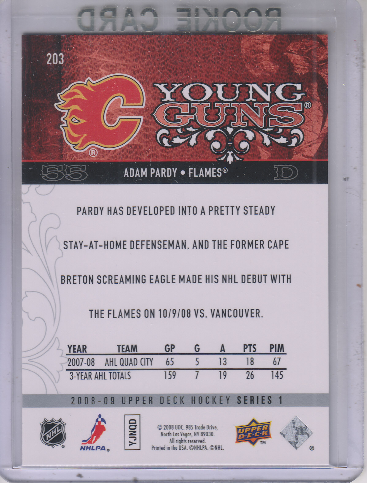 2008-09 Upper Deck #203 Adam Pardy YG RC back image