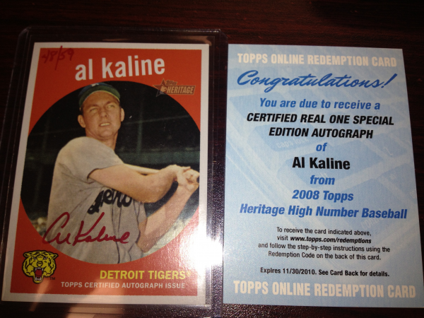 2008 Topps Heritage Real One Autographs Red Ink #AK Al Kaline HN