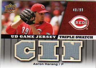 2009 Upper Deck UD Game Jersey Triple #GJAH Aaron Harang/99