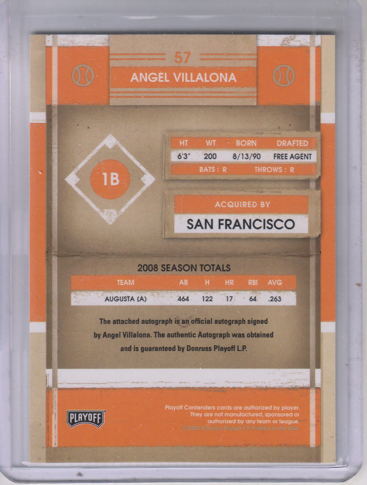 2008 Playoff Contenders #57 Angel Villalona AU back image