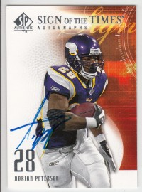 2008 SP Authentic Sign of the Times #SOTAP Adrian Peterson SP front image