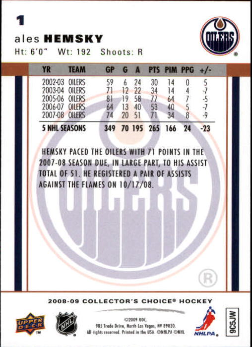 2008-09 Collector's Choice Reserve Silver #1 Ales Hemsky back image
