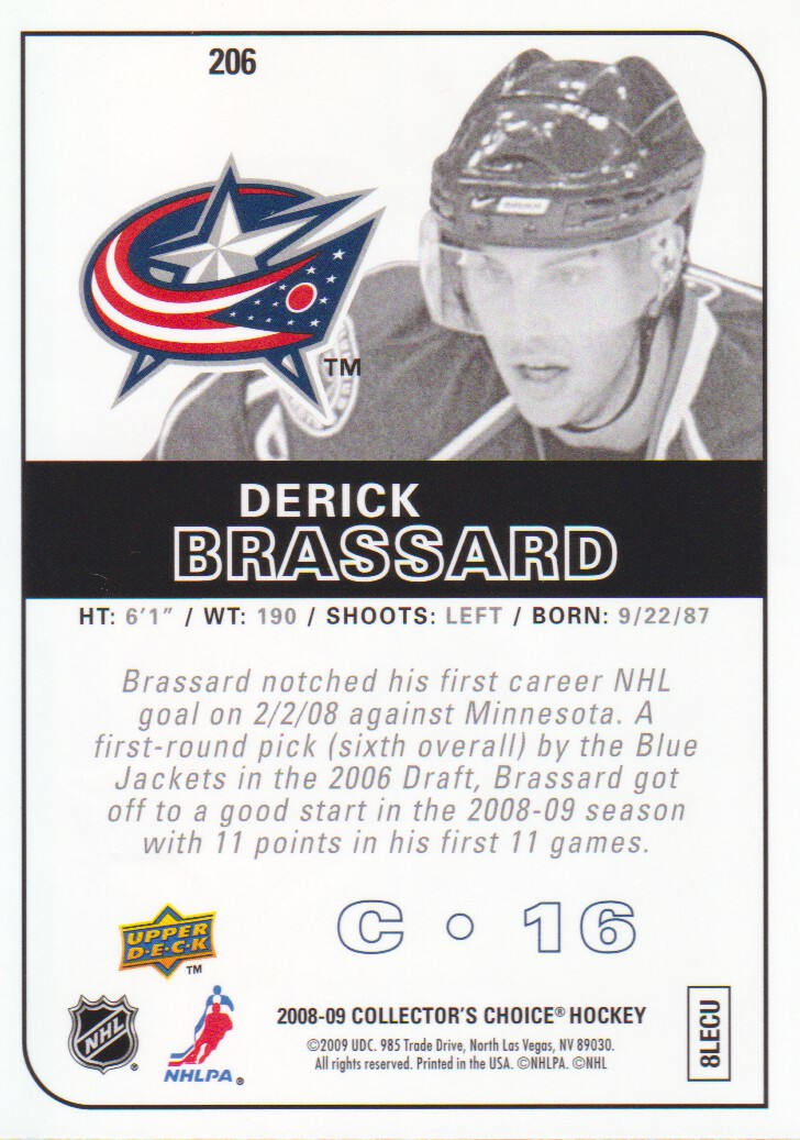 2008-09 Collector's Choice Reserve Silver #206 Derick Brassard back image