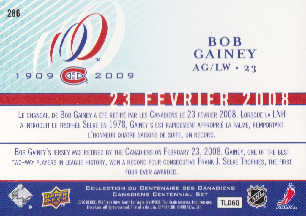 2008-09 Upper Deck Montreal Canadiens Centennial #286 Bob Gainey back image