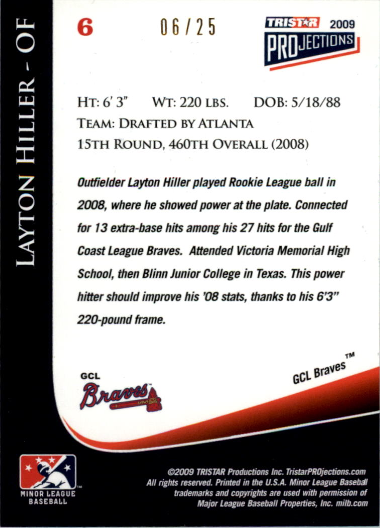 2009 TRISTAR PROjections Yellow #6 Layton Hiller back image