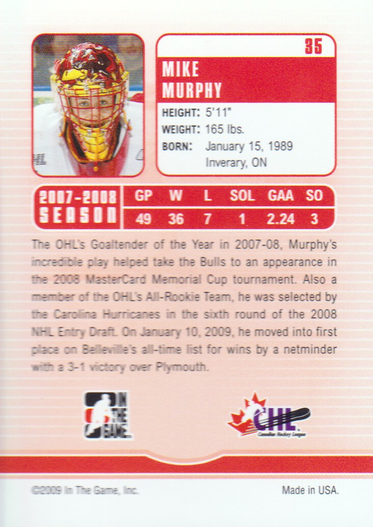 2008-09 Between The Pipes #35 Mike Murphy back image