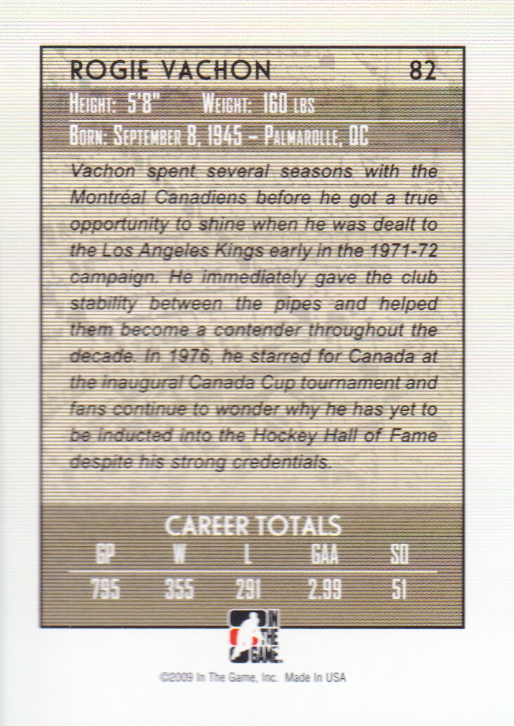 2008-09 Between The Pipes #82 Rogie Vachon back image