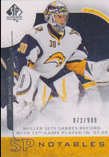 2008-09 SP Authentic #147 Ryan Miller N