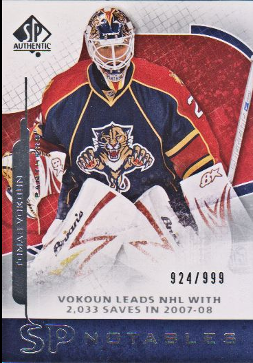 2008-09 SP Authentic #156 Tomas Vokoun N