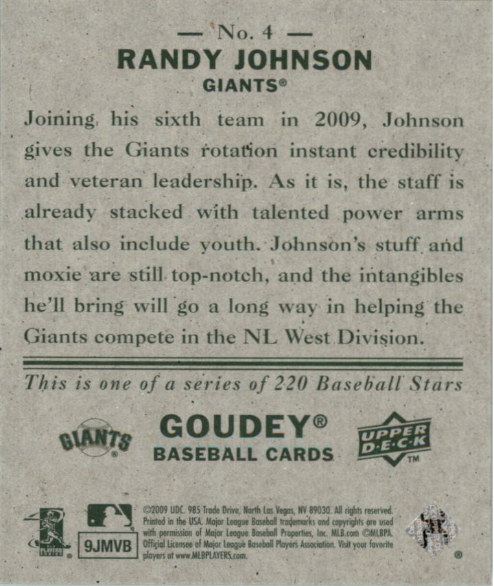 2009 Upper Deck Goudey Mini Green Back #4 Randy Johnson back image